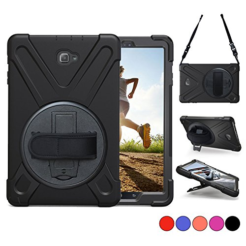 Samsung Galaxy Tab A 10.1 with S Pen Case, TSQ Heavy Duty, Carrying Rugged Protective Case With Handle Hand Grip, Shoulder Strap & 360 Rotating Stand, SM-P580/ SM-P585 Tablet Cover Skin For Kids Black