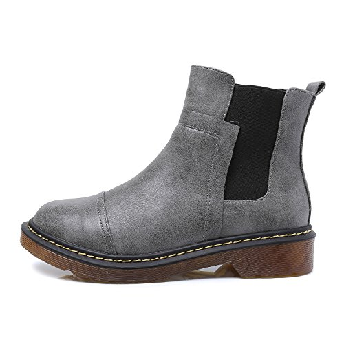 Boot Smilun lastiques Ankle Chaussures Mosaic Talons Gris Soufflets Chunky Chelsea Lady's 6TnTIwrqA