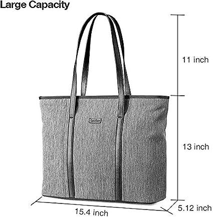 Malet/ín Ligero Impermeable para Mujer tomtoc Bolsa Tote con Compartimiento Ordenador para hasta 15 MacBook Pro Negro Bolso de Mano Elegante para Negocios//Universidad//Viaje//Fiesta//Compra