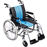 "Hi-Fortune Lightweight Medical Manual Wheelchair with Full length Padded Armrests and Hand Brakes, Portable and Folding with Magnesium Alloy, 18.5"" Seat, 21lbs"