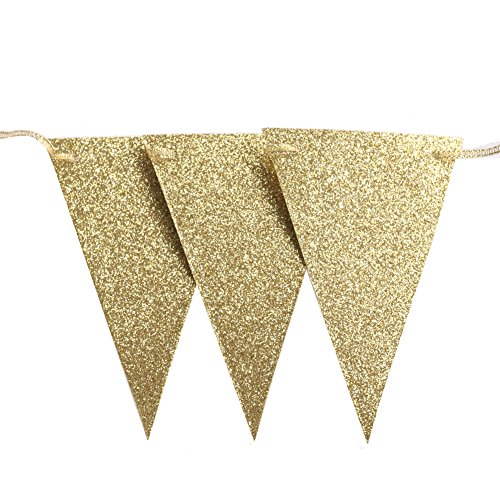 Lings moment 10 Feet Vintage Gold Glitter Triangle Flags Bunting Pennant Banner for Wedding Christmas Thanksgiving New Year Eve Party Decor, 15 Flags, Pack of 1