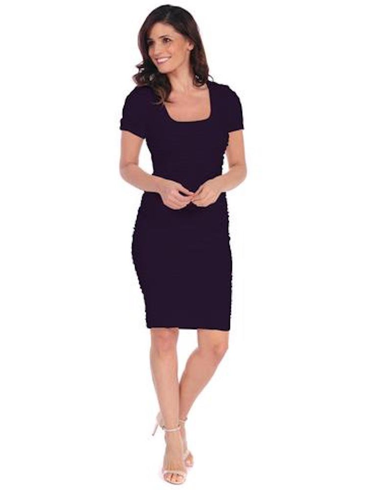 Tees by Tina Crosshatch Midi Seamless Stretch Pencil Short Sleeve Dress Casual Or for Special Occasion (Storm Gray)