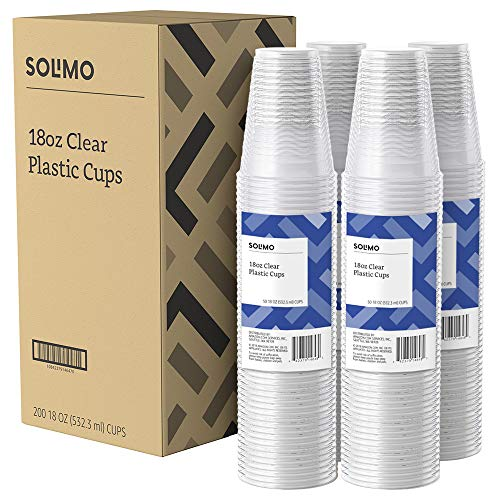 Large Product Image of Amazon Brand - Solimo 18oz Disposable Plastic Party Cups, 200 Count, Clear