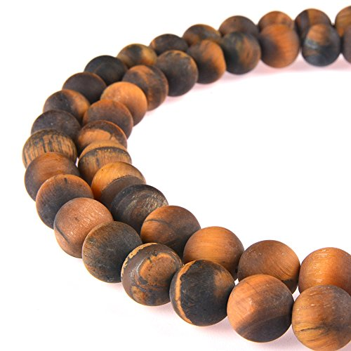 Tigers Eye Bead - PLTbeads Gorgeous Tiger Eye Natural Natural Gemstone Loose Beads 8mm Matte Round Approxi 15.5 inch DIY Bracelet Necklace For Jewelry Making