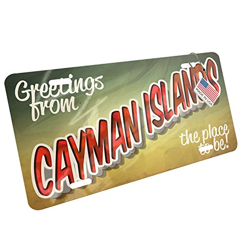 NEONBLOND Metal License Plate Greetings from Cayman Islands, Vintage Postcard (Island Postcard)