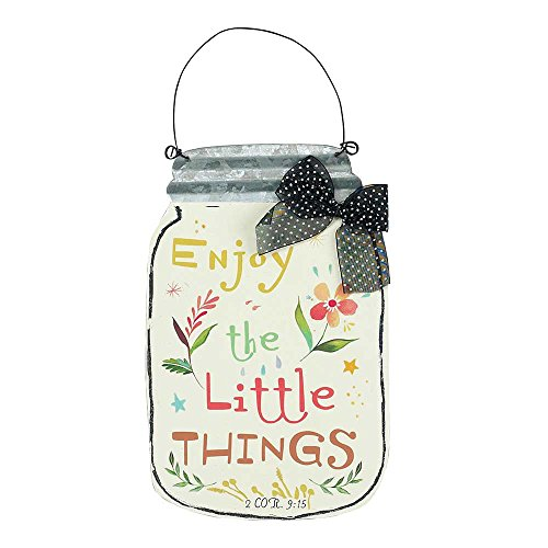 Enjoy the Little Things Floral Mason Jar 7.5 Inch Metal Hanging Wall - Wall Metal Plaque Floral