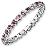 Sterling Silver Stackable Expressions Pink Tourmaline Ring - Size 9