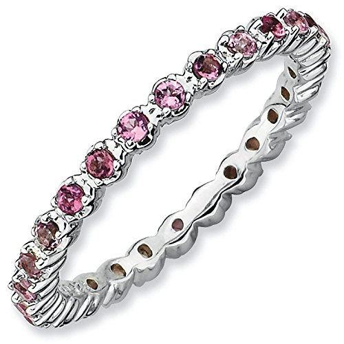 Sterling Silver Stackable Expressions Pink Tourmaline Ring - Size 9 by Stackable Expressions