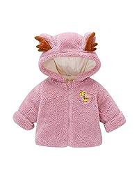 SNOWSONG Infant Baby Boys Girls Sherpa Cartoon Fleece Hooded Jacket Coat with Ears Warm Outwear Coat