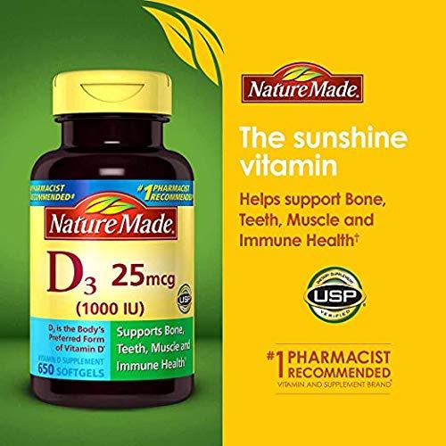 Nature Made Vitamin D3 25 mcg (1000 IU) Softgels Mega Size 650 (Packaging May Vary)