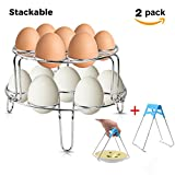2Pack Egg Cooker Steamer Rack,Stackable Stainless Steel Egg Cooker Holder,No Rusting and Protect Countertops,Multifuctional Kitchen Trivet for Vegetable Pastry Seafood with Free Pot Dish Clip