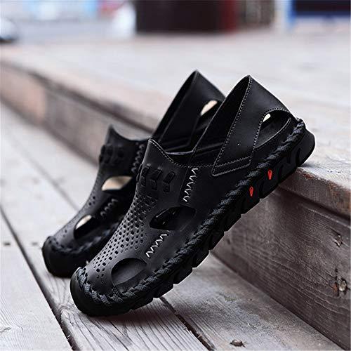 Los 0 Sandalias Color tamaño 42 Hombres Deportes CM Frescas Aire EU 3 24 Sandalia con De Libre 2 De Cuero 27 Negro Al Zapatos Marrón 0 Pwx51Aq6