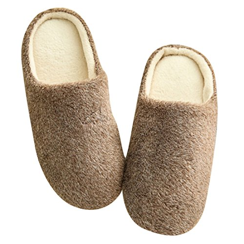 Winzik Women Men House Slippers Pure Color Plush Anti-Slip Suede Soles Winter Warm Home Indoor Shoes Brown NyTz4ZeY