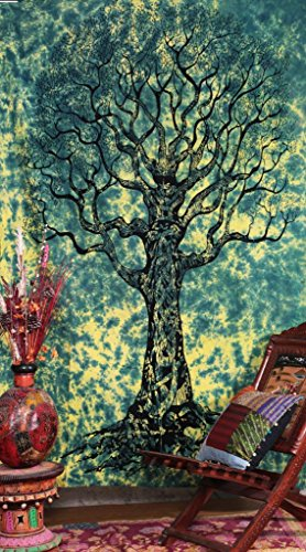 Handicrunch Twin Tree Of Life - Tie Dye staggering Indian Tapestry Throw Bedspread
