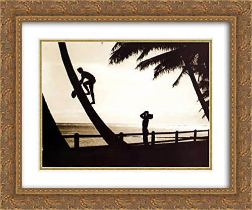 Hawaiian Silhouette, 1931 2X Matted 15x18 Gold Ornate Framed Art Print by Tom Blake