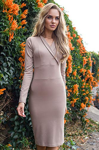 Kleid Enges mit Clea Beige Ausschnitt B5gCxSPqw