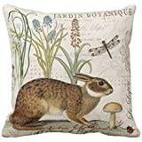 "Modern Vintage French Rabbit In The Garden Print Custom Zippered Pillow Cushion Case Throw Pillow Covers 18""x18"" Twin Sides"