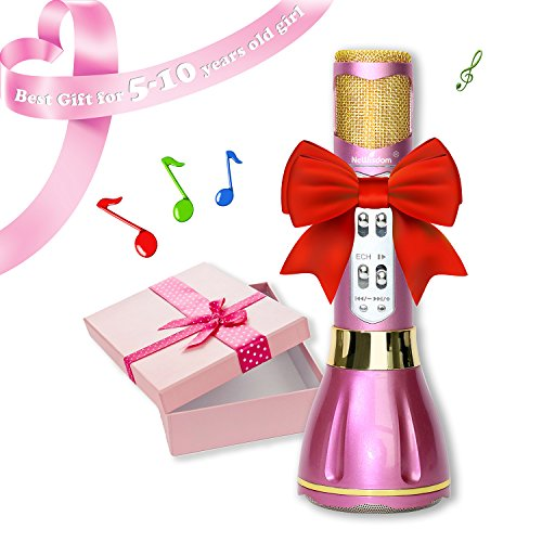 NeWisdom Best Gifts for 5 to 13 Year Old Girls, Wireless Bluetooth Microphone Karaoke Machine, for 5 6 7 8 9 10 Year Old Girls 11 12 13 Years Teenage Girls - Purple