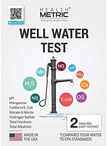 Well Water Test Kit for Drinking Water - Quick and Easy Home Water Testing Kit for Bacteria Nitrate Nitrite pH Manganese & More   Made in The USA in Line with EPA Limits [NO MAILING Required]