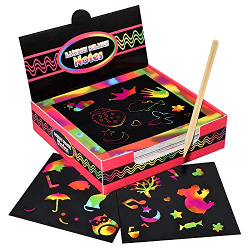 Gift for 5-7 Year Old Girl, Snoky Create Rainbow Scratch Art And Crafts for Girls Age 5-8 Birthday Gifts for 5-10 Year Old Boys Christmas Girls Presents Stocking Stuffers for Kids Girls Red BKCHGZ02 (For Girls Presents Good Christmas)