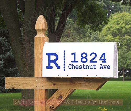 Monogram with Dots Personalized Mailbox Decals Stickers Vinyl Address, Set of 2 Jumbo by Wall Decor Plus More (Image #1)