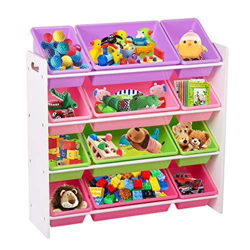 BestMassage Kids Toy Storage Box Playroom Bedroom Shelf Drawer Toy Storage Organizers with Bins