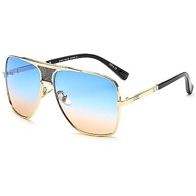 Retro Oversized Pilotenbrille Metall Sonnenbrille UV400 Schutz Optimal Entwurf Herren und Frauen Square Aviator Sonnenbrillen Braun ZCAZSqm0zw