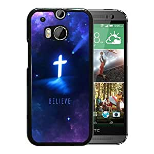Christian Cross With Purple black for HTC ONE M8 Phone Cover