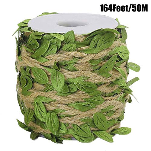 Ariskey Burlap Leaf Ribbo, 164Feet/50Meters Natural Jute Twine with Green Leaves for Wedding Packing and Garden Decoration Twine