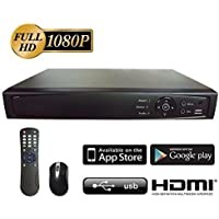 Digital Surveillance Recorder 16CH HD-TVI 1080P H.264 True-HD DVR w/ 1TB HDD HDMI VGA Video Output Mobile Phone Accessible Great for Home Office (Work w/ HD-TVI Standard Analog & IP Cam)