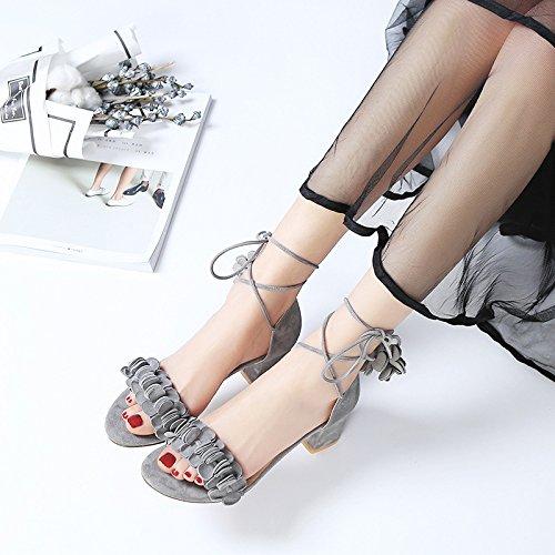 I Sandali Con Una Nuova Estate Con Fitta Fasciatura,Grey,Eu34Cn35
