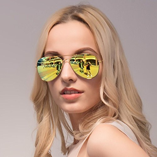 Richsun Full Mirrored Aviator Fashion Sunglasses with UV400 Protection against Harmful UVA/UVB - Sunglasses Gold Mirrored