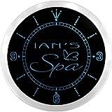ncx0262-tm Ian's Spa Custom Name Neon Sign Clock