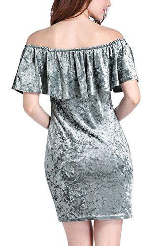 Nice:Pretty Womens Falbala Off Shoulder Comfy Velvet Slim Casual Bag Hip Skirt Dress GreyLarge