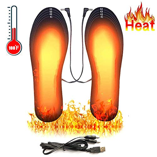 Heated Insoles, USB Rechargeable Heated Shoes Pad, DIY Customizable Electric Heated Insoles for Outdoor | Camping | Skiing | Hunting, Winter Insole Foot Warmers for Men and Women (Size 8-12/41-45)