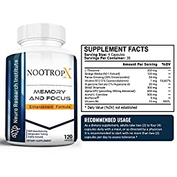 NootropX Advanced Nootropic Brain Supplement | Clinically Effective Doses | Memory and Focus Enhancement Formula | Alpha GPC | Ginkgo | Ginseng | DMAE | Theanine | Huperzine A | ALCAR (120 Capsules)