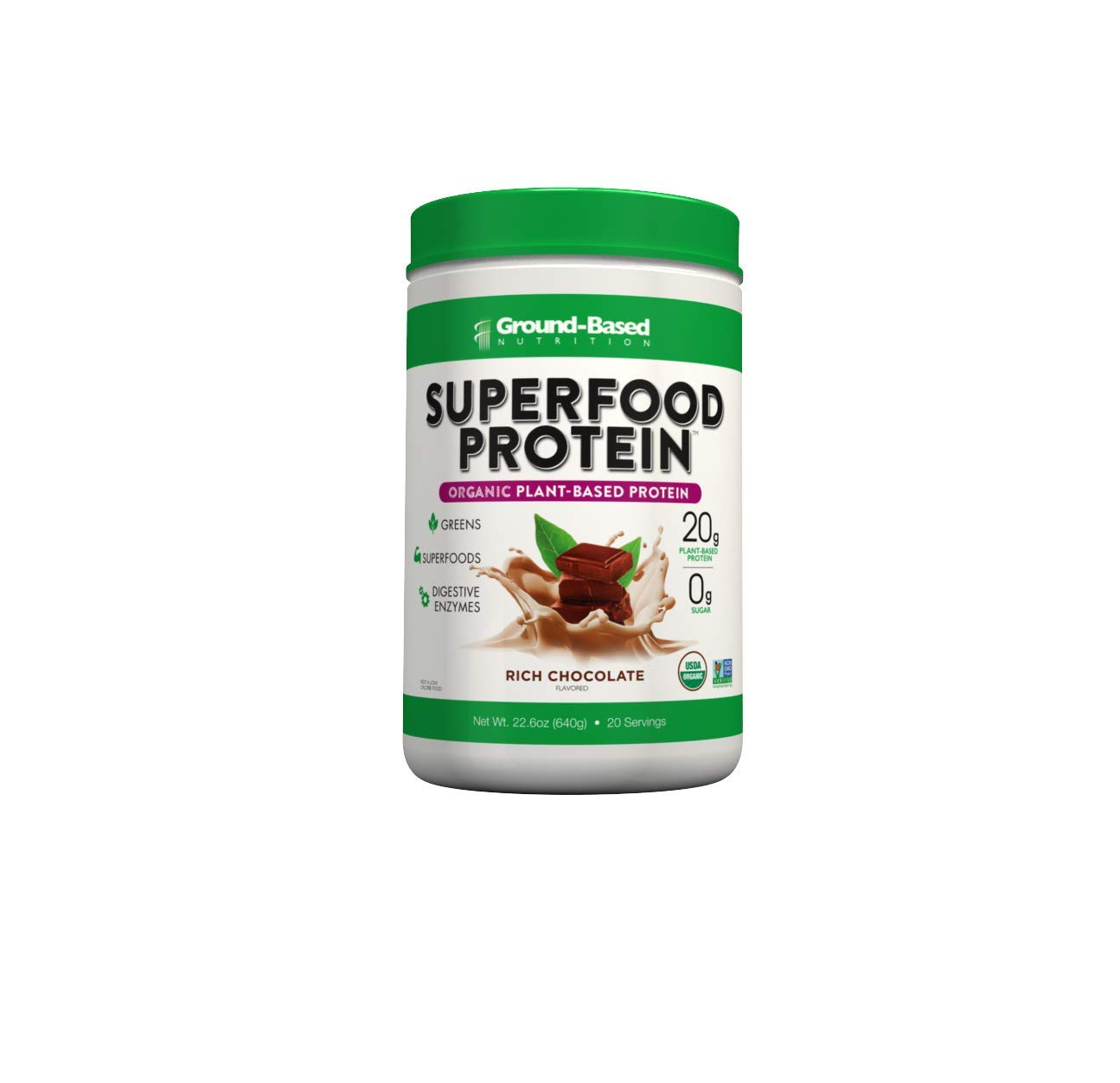 Plant-Based Organic Superfood Protein - Zero Carb Plant-Based Protein- Raw Food Protein Powder | All Natural Formula, Vegan, Sugar Free, Rich Chocolate, Vegan, Non-GMO, 20 Svgs by Ground-Based Nutrition