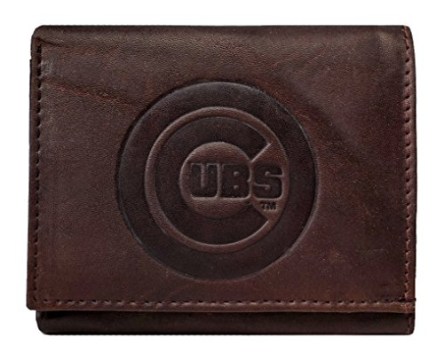 Rico Chicago Cubs MLB Embossed Logo Dark Brown Leather Trifold Wallet