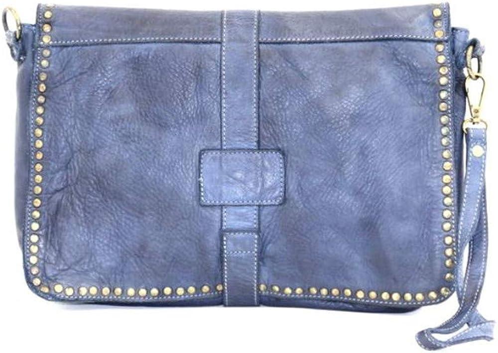 Superflybags Bolso Pochette de hombro/bandolera en piel verdadera Cuero Genuino Vintage Clavos Modelo CARMELITA -Made in Italy- Jeans GCAyD3rJ