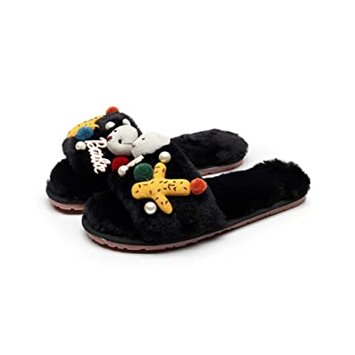 a0075151197 T-JULY Women s Sea Star Pendant Fur Slippers Pompon Furry Slides Girls  Cartoon Bear Flip