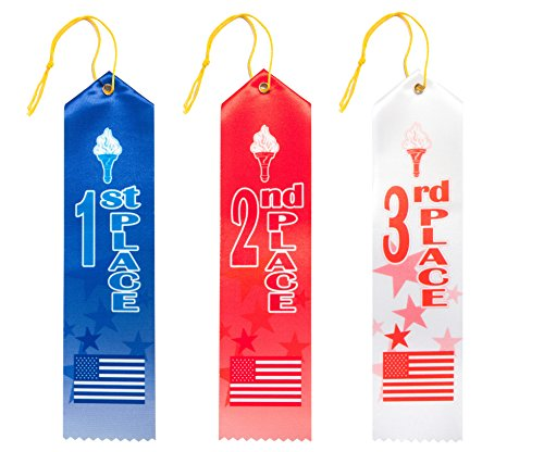 75 Patriotic Award Ribbons- 1st, 2nd, 3rd Place, Premium Design, Value Bundle-25 each in Blue, Red, White with Event Card and String