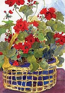 Toland Home Garden Geranium Basket 28 x 40 Inch Decorative Red Flower Spring Summer House Flag
