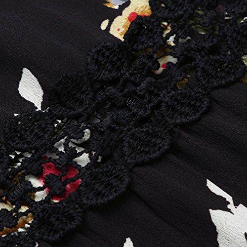 Impression Adeshop Élégant Deep Jupes Parties Manches Backless Femmes Swallowtail Noir Irrégulier Col Et De Robes Robe Creux Soirée Sans Slim Robe Chic Vintage V 77dnrq