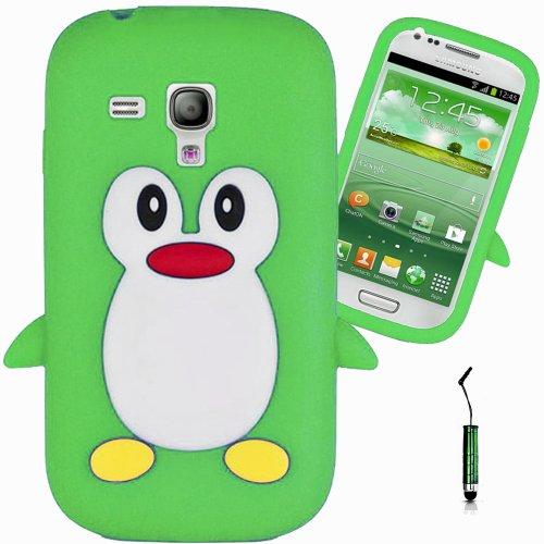 Nouveauté! Vert Green Pingouin Manchot Mignon Étui Housse Coque en Silicone pour Samsung Galaxy S3 Mini i8190