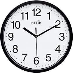 Hippih 10 Silent Quartz Decorative Wall Clock Non-ticking Digital(Black)