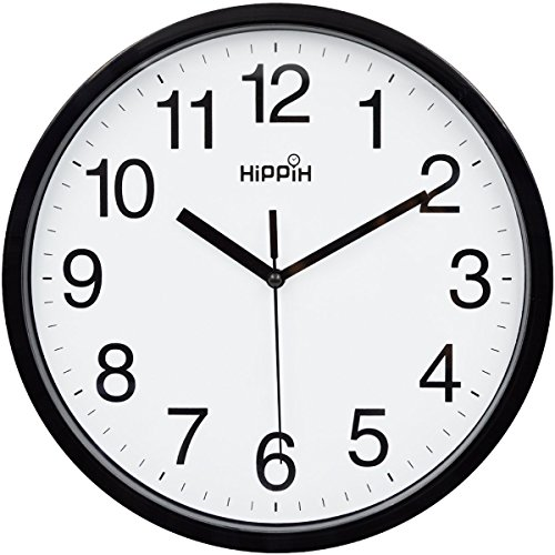 Hippih 10 Silent Quartz Decorative Wall Clock Non Ticking Digital Black
