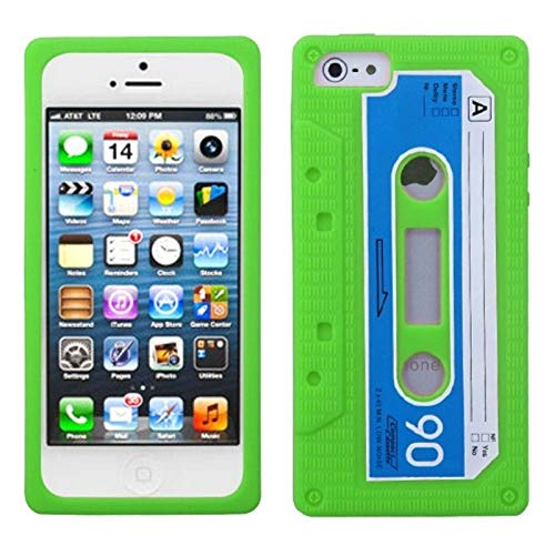 Insten 3D Cassette Tape Rubber Silicone Soft Skin Gel Case Cover Compatible with Apple iPhone 5/5S/SE, Neon Green/Blue