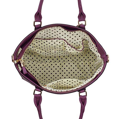 Large Handbag Celebrity Women's Faux Leather Purple Tassel Quality Fashion CWS00404 Trendy Gorgeous Bag Tote Ladies p7xHInx