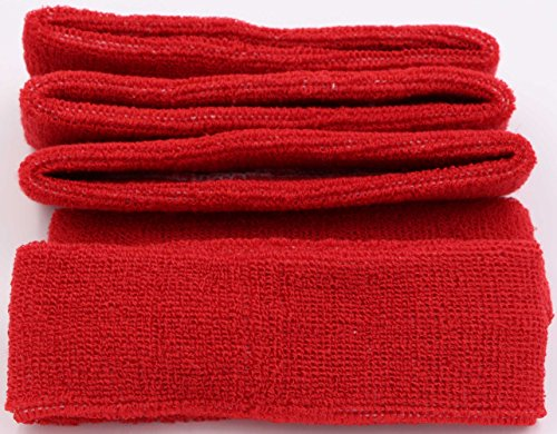 LeBeila Sweat Headbands for Men – 5PK Sweatbands Cotton Headwrap for Basketball Running Sports Workout Exercise, Mens Sweatband Stretchy Terry Cloth Athletic Sweat Headband Headwear (Red, 5PCS)