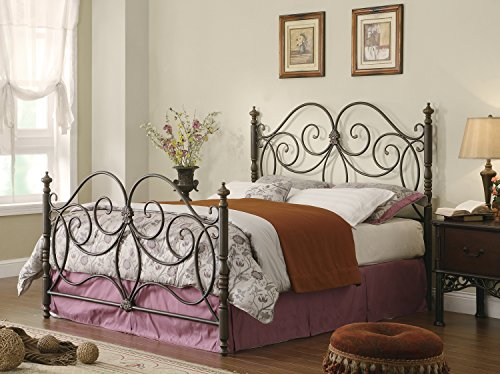 Queen Iron Headboard and Footboard with Scroll Details Dark Bronze